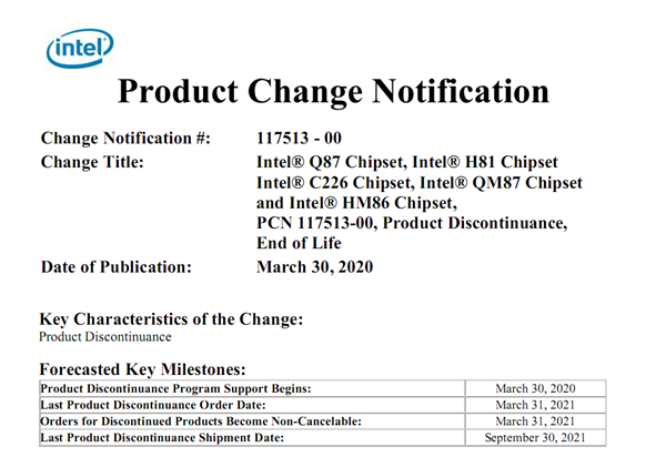 Intel退役四代酷睿H81主板:22nm工艺渐行渐远