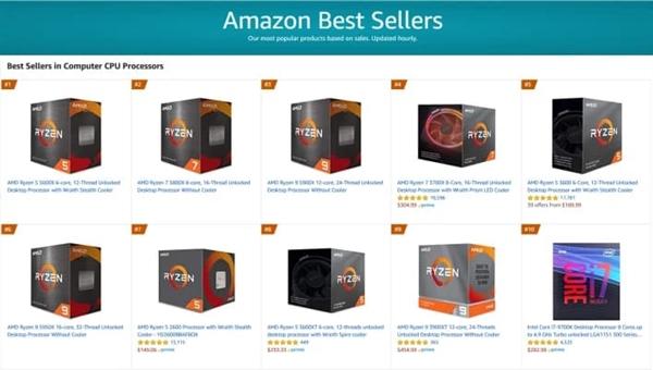AMD锐龙5000处理器首销:霸榜亚马逊畅销CPU TOP3