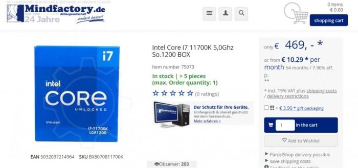 酷睿i7-11700K偷跑:8核5.0GHz、价格堪比10900K