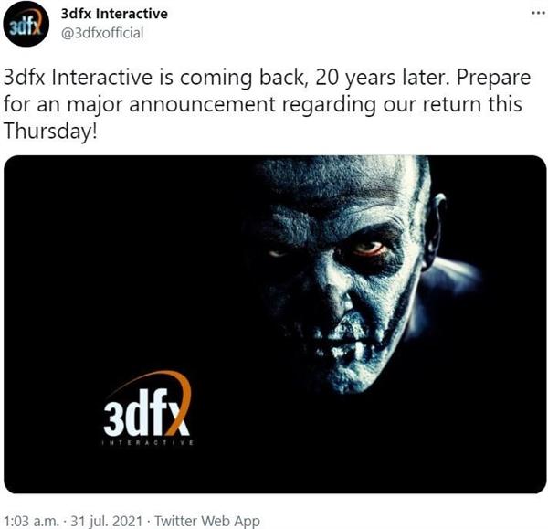 时隔20年 3dfx宣布卷土重来:将有大事宣布